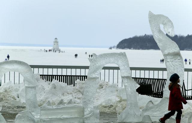 Bevroren meer Champlain Vermont