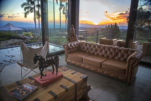 Rondreis Colombia Quindio/Armenia/Bio Habitat lobby van het hotel