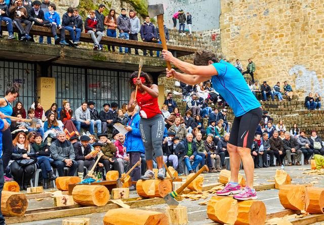 San Sebastian Donostia Aizkolari wedstrijd