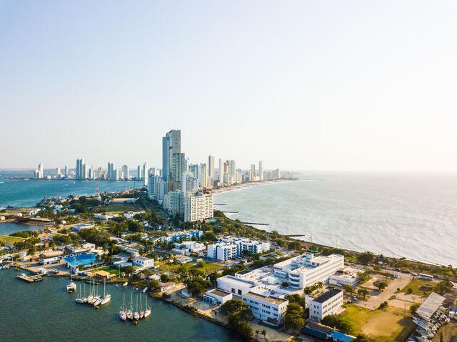 Rondreis Colombia Cartagena luchtfoto van het moderne deel van de stad
