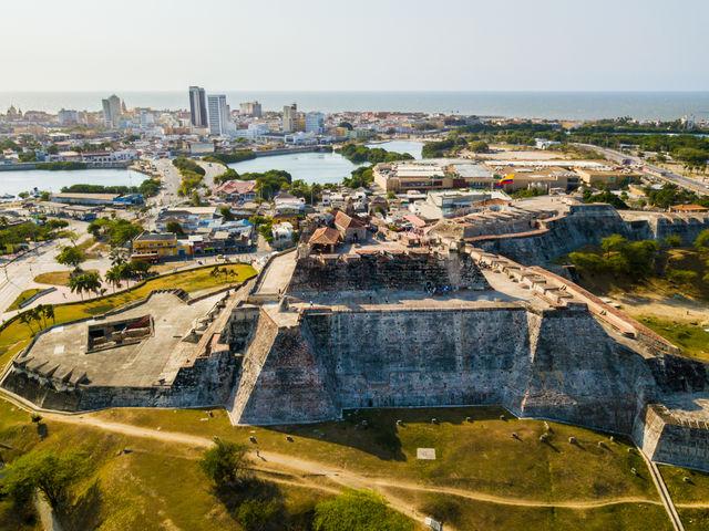 Rondreis Colombia Cartagena Castillo de San Felipe luchtfoto