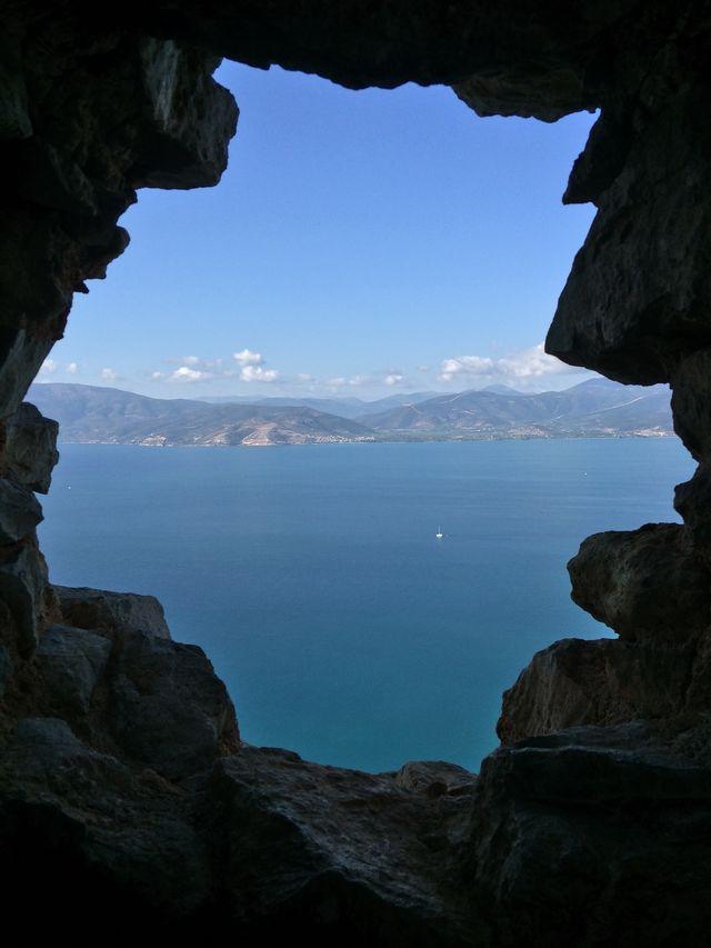 Uitzicht grot Nafplio Peloponnesos Griekenland