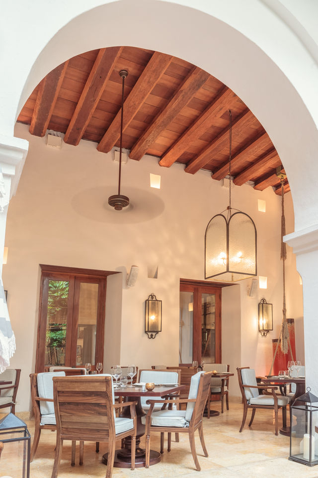 Rondreis Colombia Bolivar Cartagena Casa San Agustin detail van het restaurant