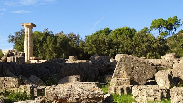 Ruïnes Tempel van Zeus Olympia Peloponnesos Griekenland