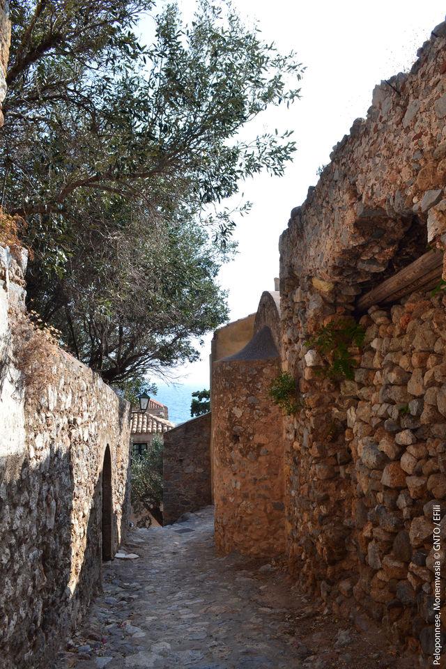 Straat Monemvasia Peloponnesos Griekenland