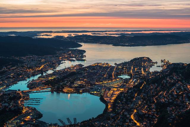 Bergen zonsondergang Noorwegen