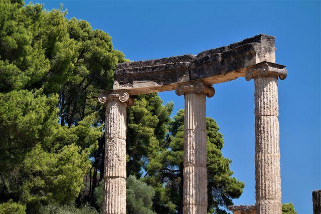 Zuilen Olympia Peloponnesos Griekenland