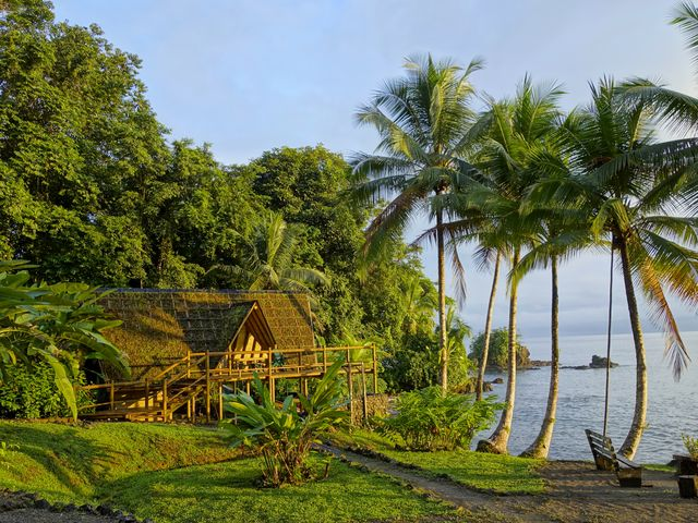 Rondreis Colombia Choco Nuqui El Cantil Ecolodge het centrale gedeelte badend in de zon