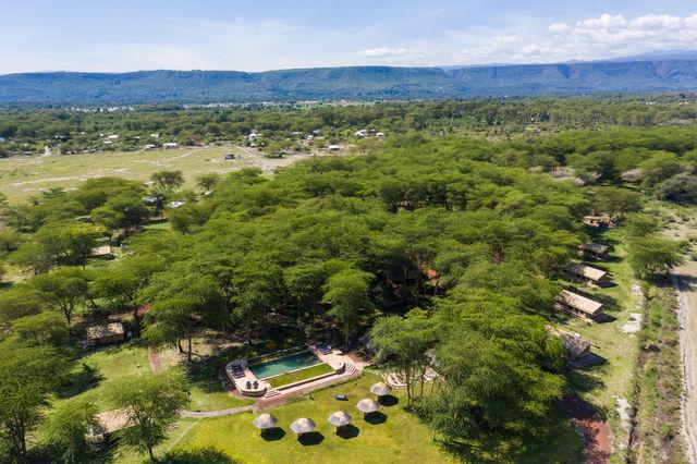 Rondreis Tanzania Lake Manyara luchtfoto kamp